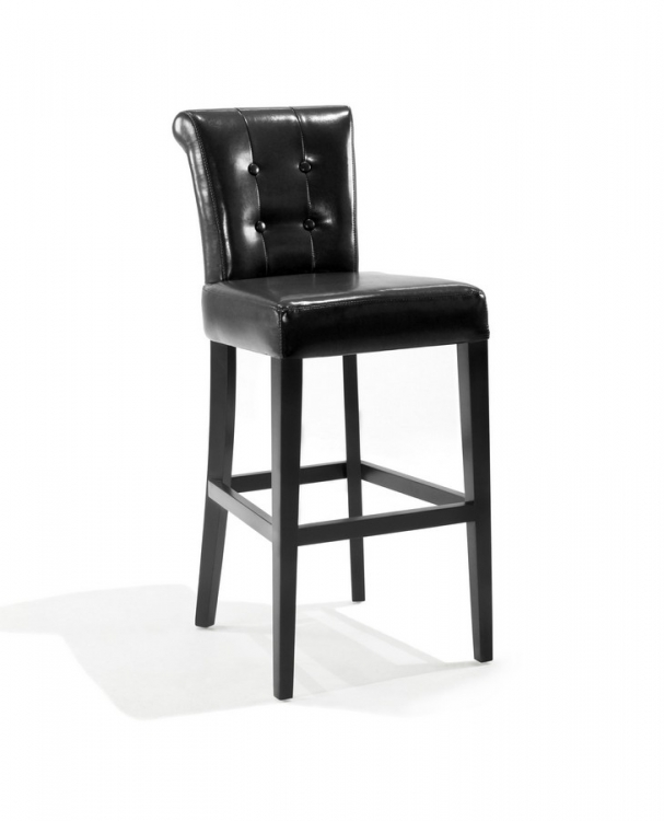 Sangria 26in Stationary Tufted Black Bonded Leather Counter High Barstool - Armen Living