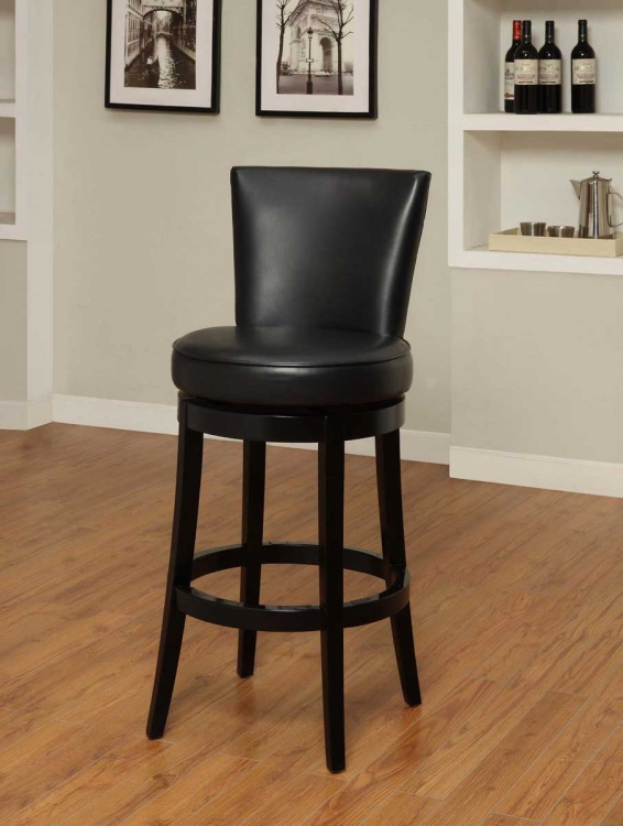 Boston 26 Inch Swivel Barstool - Black Bicast Leather