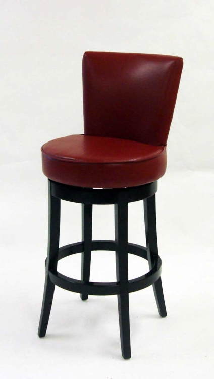 Boston 30 Inch Swivel Barstool - Red Bicast Leather - Armen Living