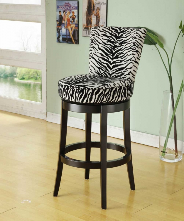 Boston 30 Inch Swivel Barstool - White/Black Zebra Fabric
