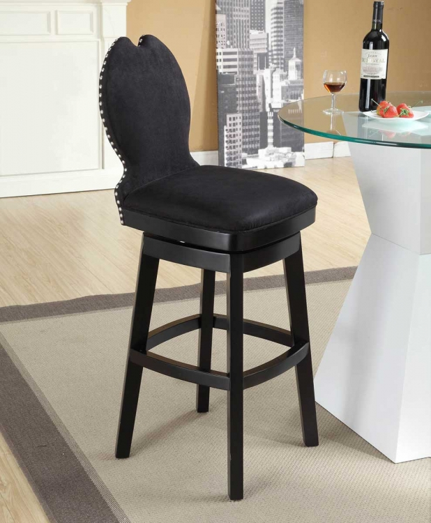 Ava 26 Inch Swivel Barstool - Black Fabric
