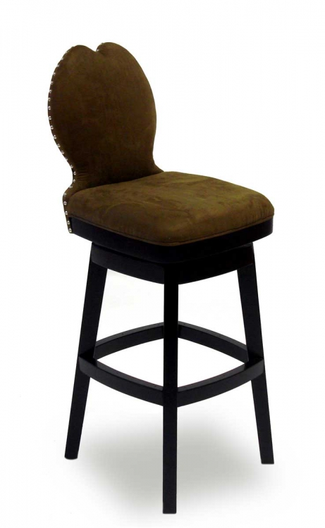 Ava 26 Inch Swivel Barstool - Brown Fabric - Armen Living