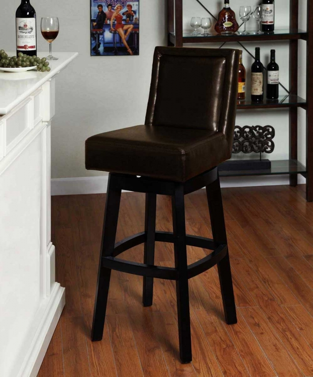 Wayne 30-inch Swiverl Barstool - Brown Bicast Leather