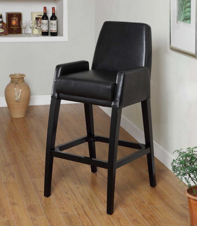 Baldwin 26 Inch Stationary Barstool - Black Bicast Leather