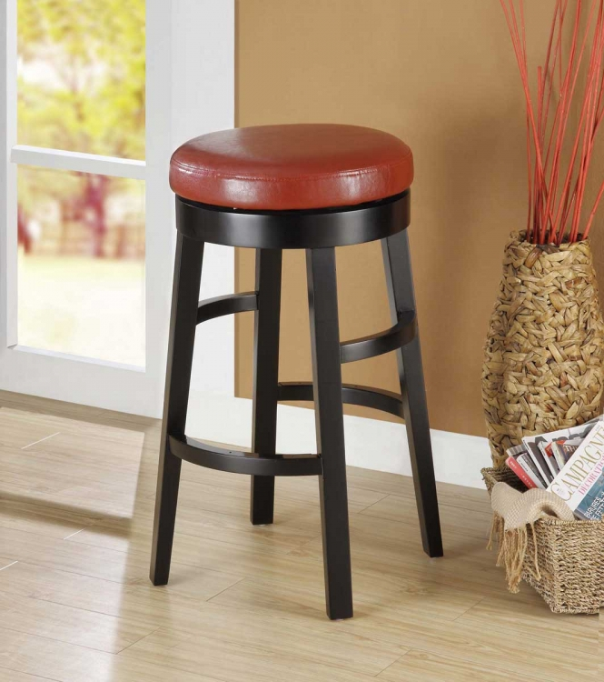 Halo 30 Inch Swivel Barstool - Red Bicast Leather