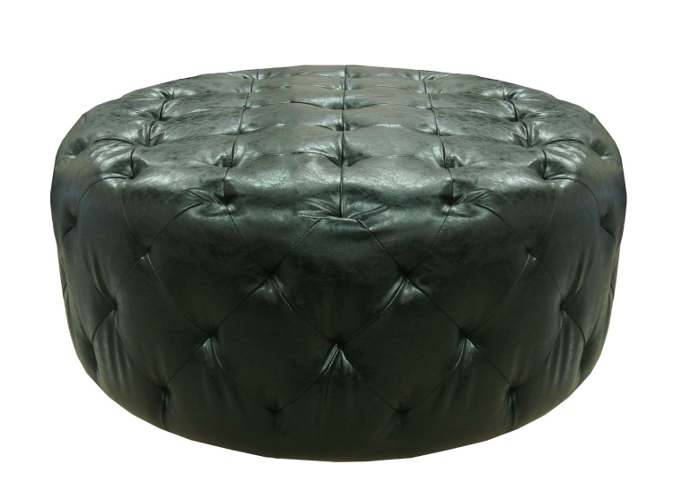 Victoria Ottoman - Midnight Black Bonded Leather