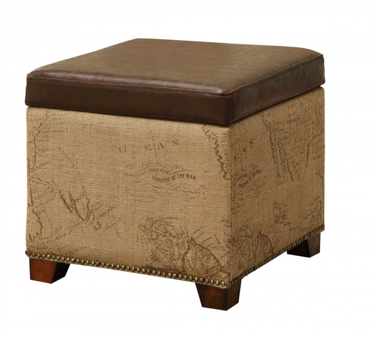 Antique Brown Storage Ottoman