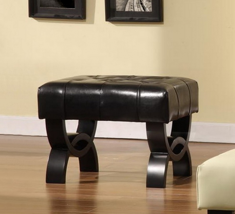 Central Park 24-inch Tufted Black Leather Ottoman