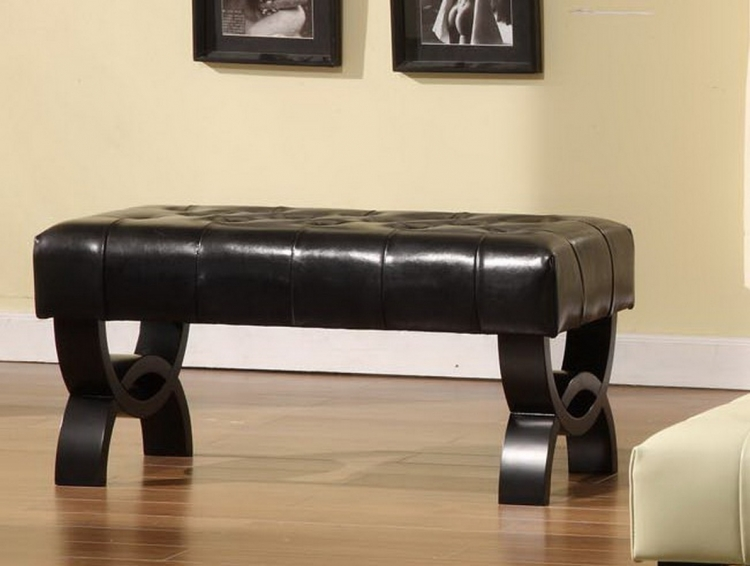 Central Park 36-inch Tufted Black Leather Ottoman
