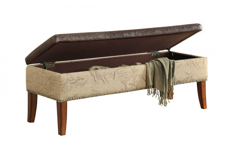 Antique Brown Storage Bench - Armen Living
