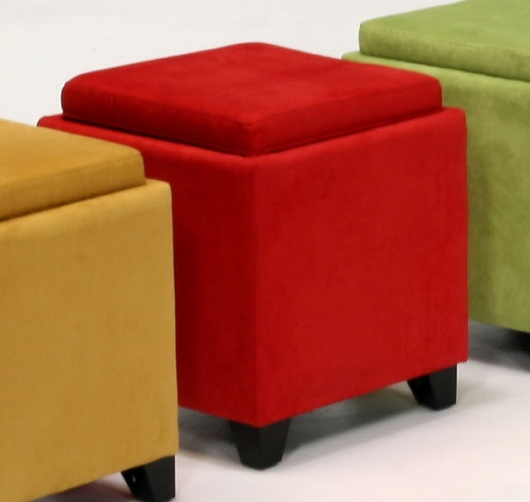 Micro Fiber Storage Ottoman - Red