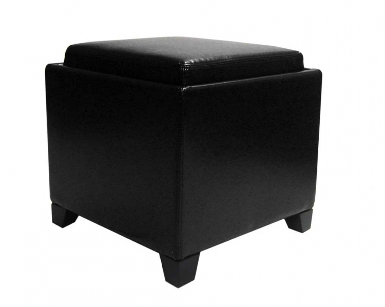 Contemporary Storage Ottoman with Tray - Black