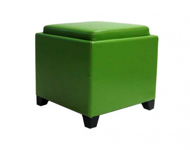 Contemporary Storage Ottoman with Tray - Green