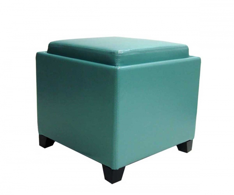 Contemporary Storage Ottoman with Tray - Sky Blue