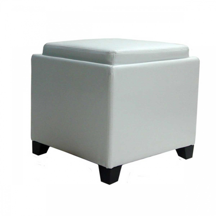 Contemporary Storage Ottoman with Tray - White