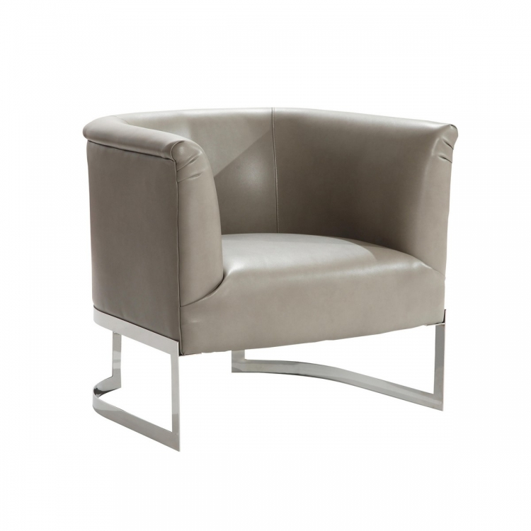 Elite Contemporary Accent Chair In Smoke and Steel Finish