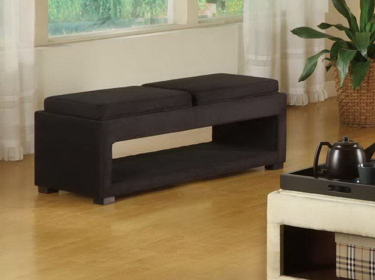Cancun Double Tray Bench In Black Micro Fiber - Armen Living