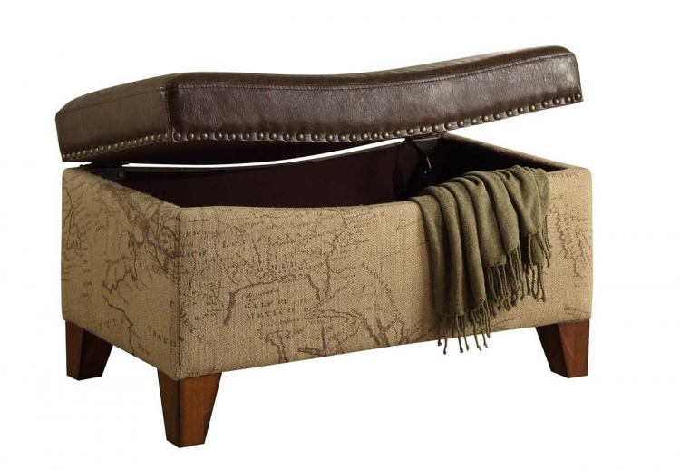Storage Map Jute Fabric/ Vintage Trim Ottoman - Brown - Armen Living