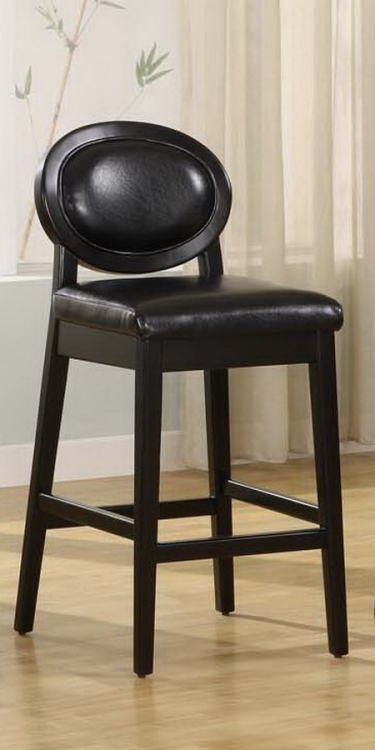 Martini 26-inch Stationary Barstool - Jet Black Leather - Black Legs