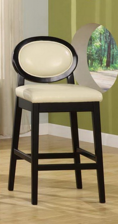 Martini 26in Stationary Barstool - Creme Leather - Black Legs