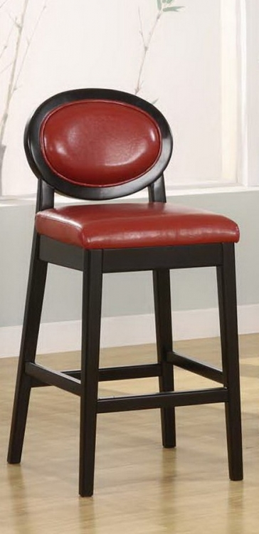 Martini 30in Stationary Barstool - Red Leather - Black Legs