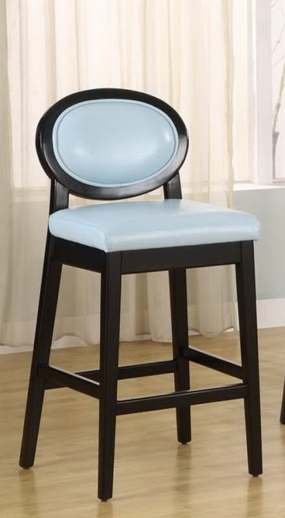 Martini 26in Stationary Barstool - Sky Blue Leather - Black Legs - Armen Living