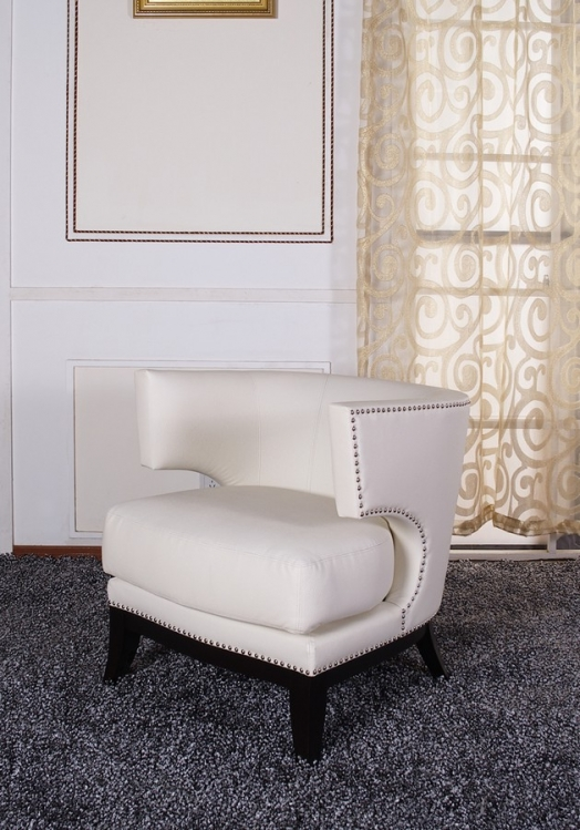 Eclipse Club Chair - Crme Vinyl With Nailhead Accents And Espresso Wood Finish