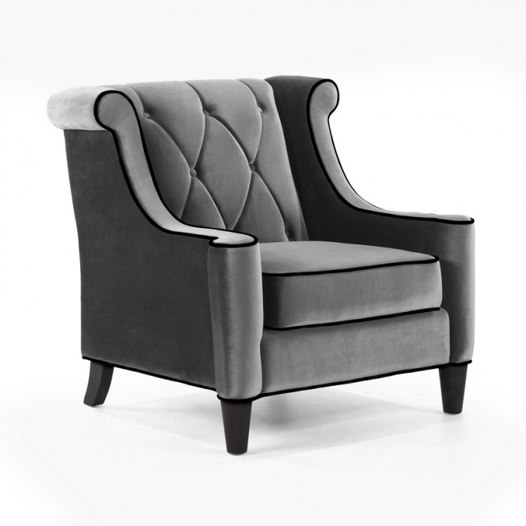 Barrister Chair Gray Velvet - Black Piping