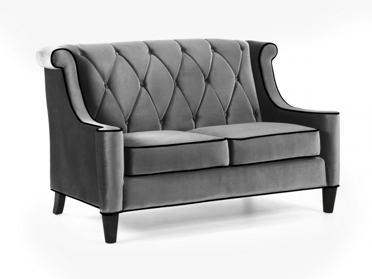 Barrister Loveseat Gray Velvet - Black Piping - Armen Living