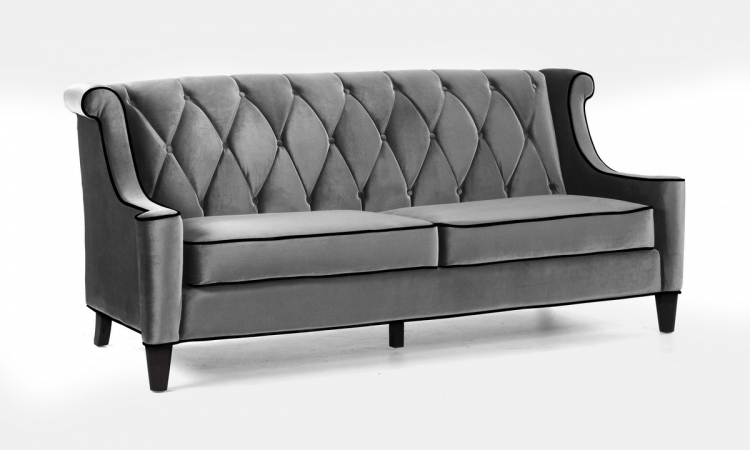 Barrister Sofa Set Gray Velvet - Black Piping