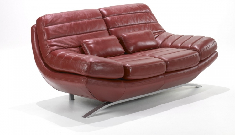 Riviera Loveseat Red Leather - Armen Living