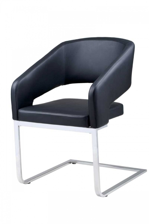 Armchair - Black Leatherette - Armen Living