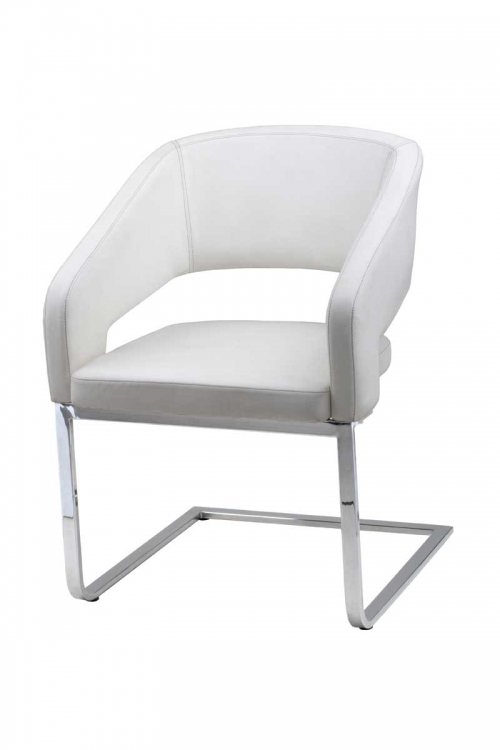Armchair - White Leatherette - Armen Living