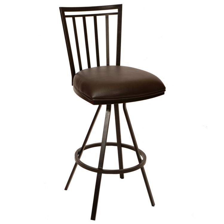 Aidan 26-inch Transitional Barstool In Coffee and Auburn Bay Metal