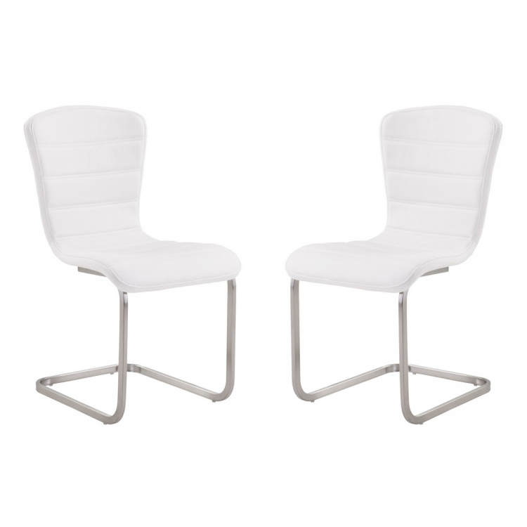 Cameo Modern Side Chair In White and Stainless Steel