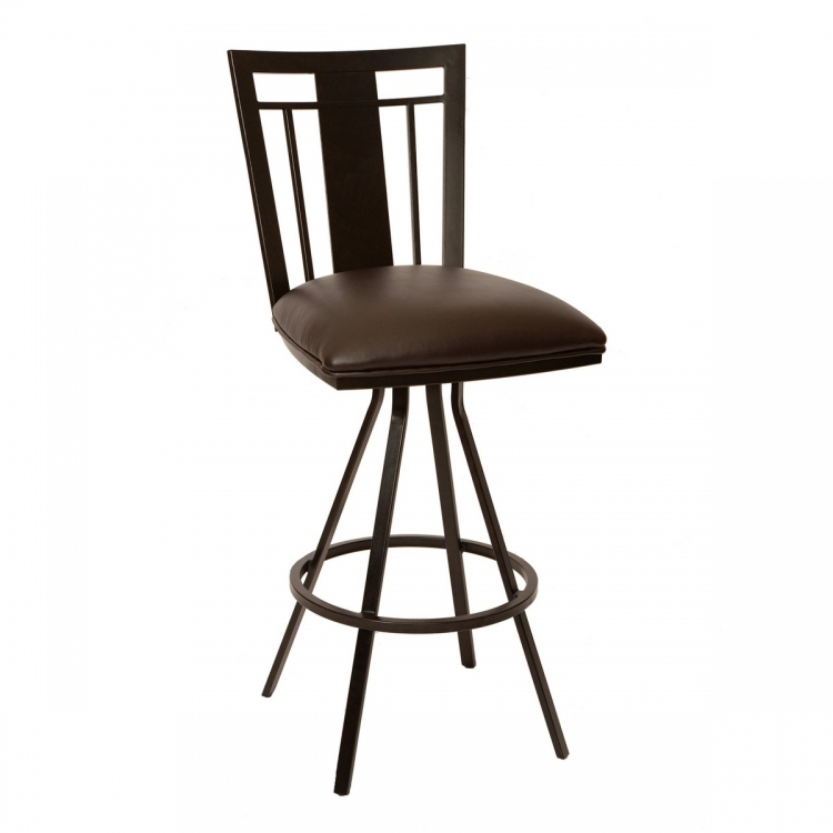Cleo 26-inch Transitional Barstool In Coffee and Auburn Bay Metal