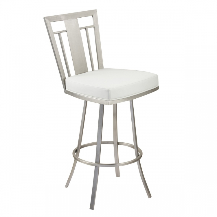 Cleo 26-inch Modern Swivel Barstool In White and Stainless Steel