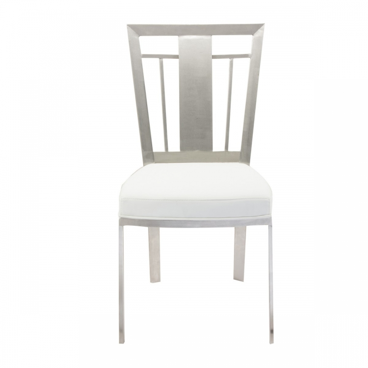 Cleo Contemporary Dining Chair In White and Stainless Steel