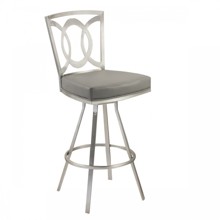 Drake 26-inch Contemporary Swivel Barstool In Gray and Stainless Steel
