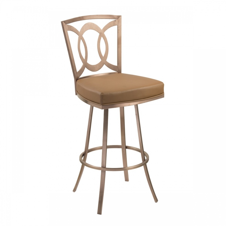 Drake 30-inch Contemporary Swivel Barstool In Camel and Gold Finish
