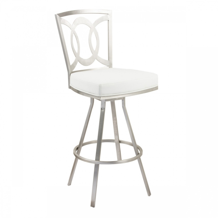 Drake 30-inch Contemporary Swivel Barstool In White and Stainless Steel