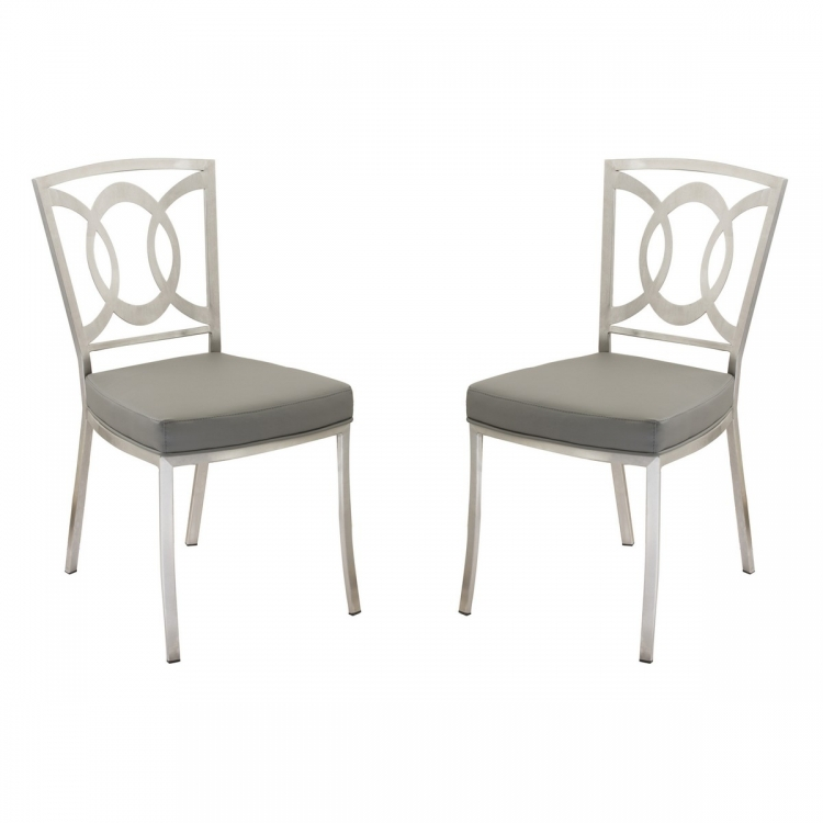 Drake Modern Dining Chair In Gray and Stainless Steel