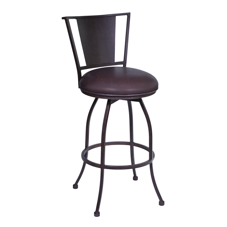 Dynasty 30-inch Bar Stool - Brown Leatherette