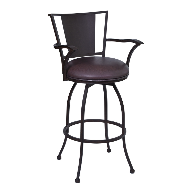 Dynasty 26-inch Arm Bar Stool - Brown Leatherette