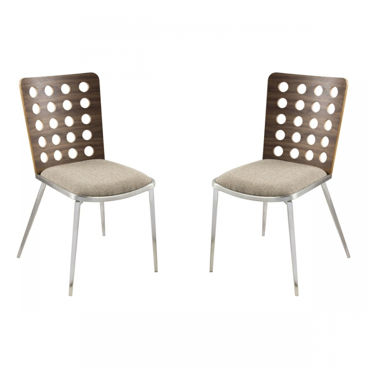 Elton Modern Dining Chair In Brown and Stainless Steel