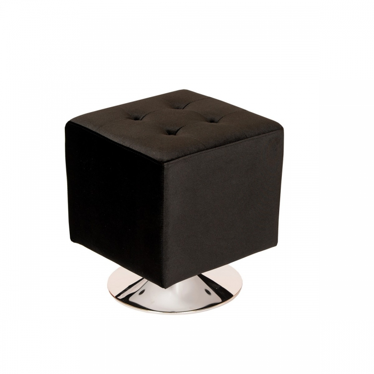 Pica Square 360 degree swivel Ottoman in Black Velvet
