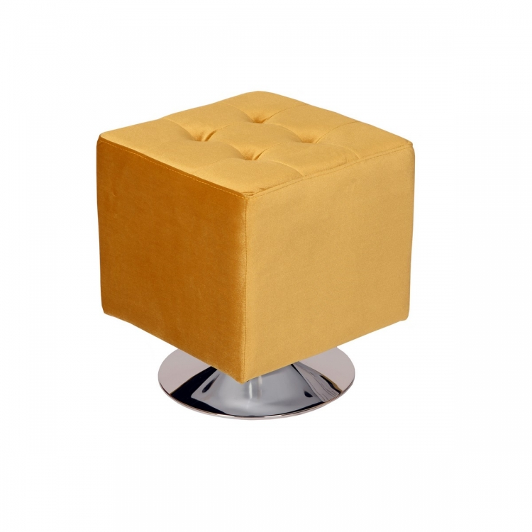 Pica Square 360 degree swivel Ottoman in Yellow Velvet