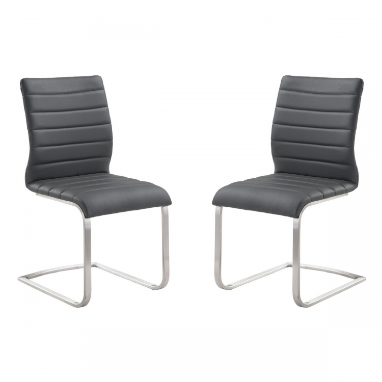 Fusion Contemporary Side Chair In Gray and Stainless Steel