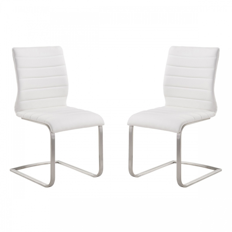 Fusion Contemporary Side Chair In White and Stainless Steel