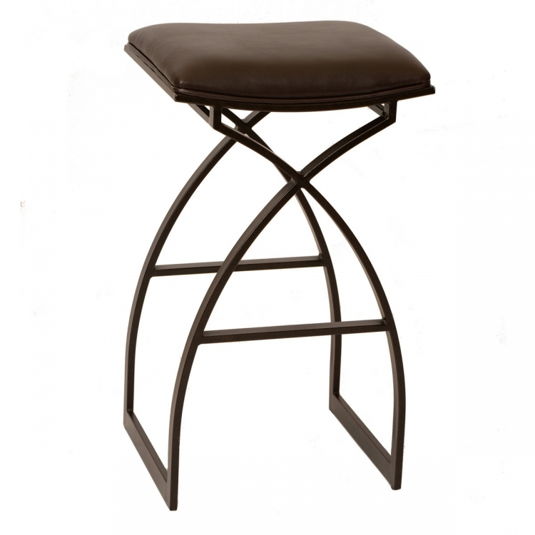 Harper 26-inch Modern Barstool In Coffee and Auburn Bay Metal